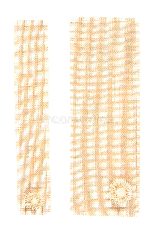 在麻袋布的装饰标记白色 库存图片