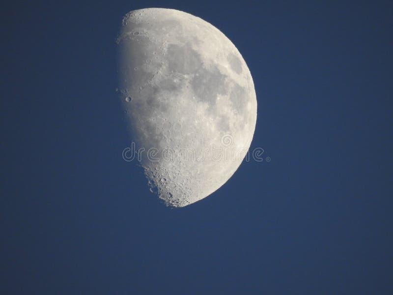 在黄昏前的月亮 库存例证