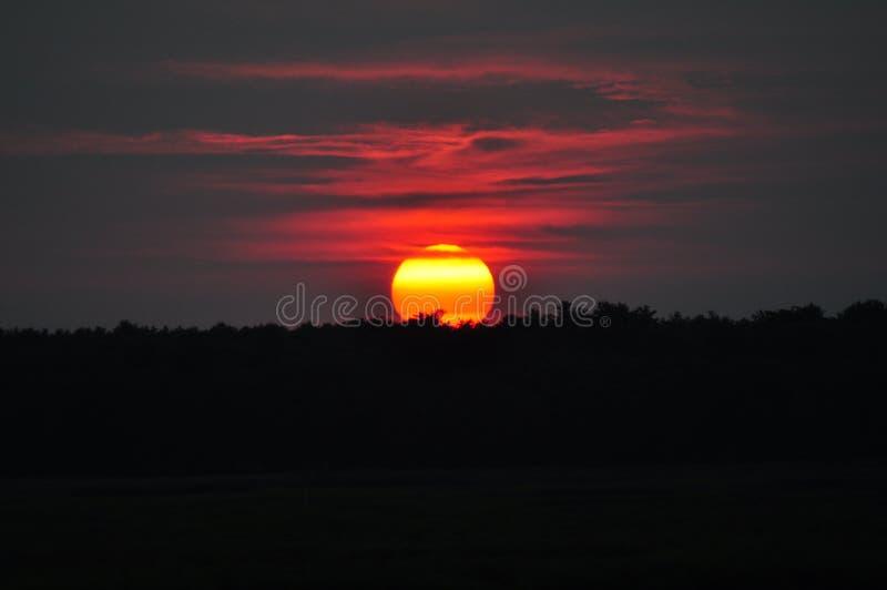 在黄昏新英格兰的日落 图库摄影