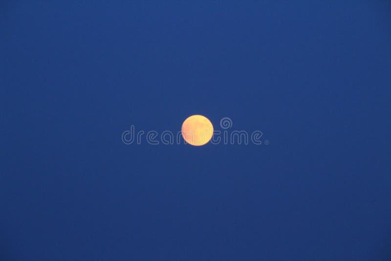在黄昏的阿利坎特海滩与满月 库存图片