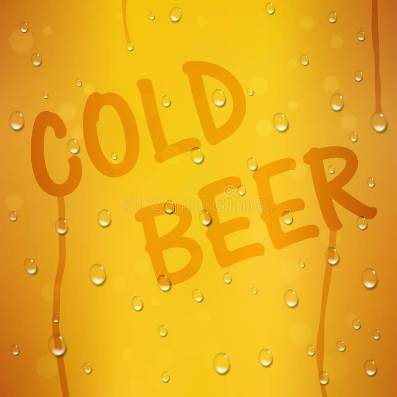 在黄色传染媒介背景的冰镇啤酒文本用水下降 节日的慕尼黑啤酒节创造性的模板在德国 库存例证