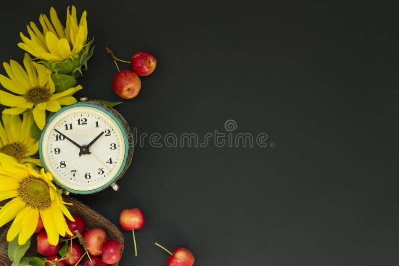 在黄色向日葵和花附近花束的老闹钟和在一个篮子的红色苹果在黑背景 ??` s?? 库存图片