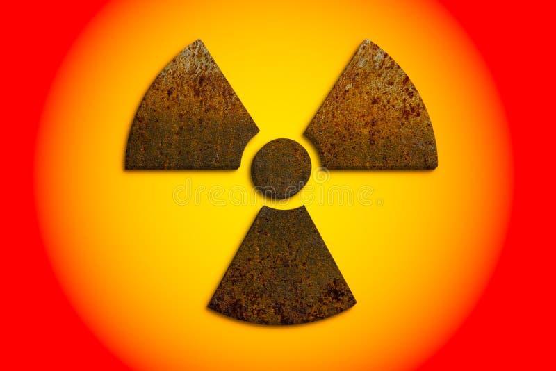 在黄色和红色被修建3D生锈的金属脏的纹理和隔绝的放射性致电离辐射核危险标志 免版税库存照片