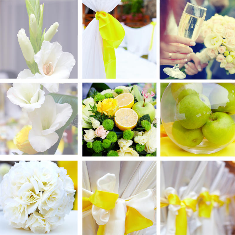 在黄色和绿色主题的婚礼拼贴画 免版税图库摄影