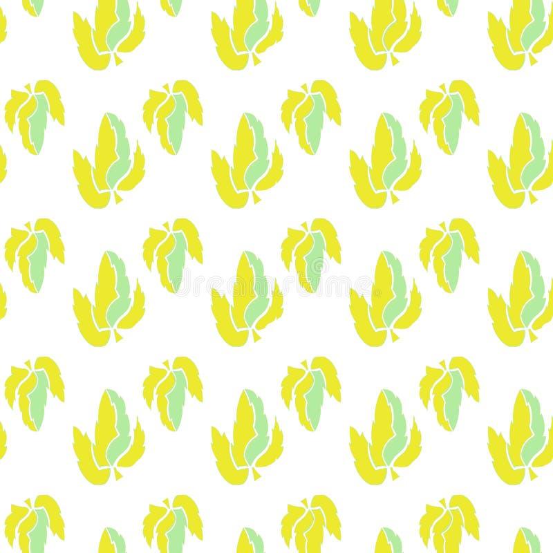 在黄色和绿色的薄荷叶,在一个单调板台,有平面白色背景,无缝的样式 皇族释放例证