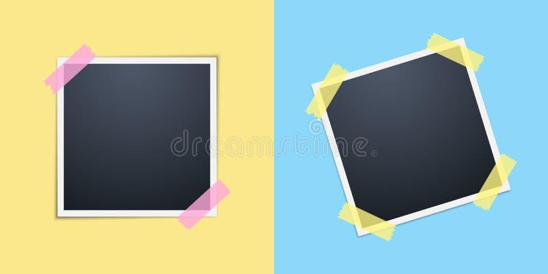 在黄色和蓝色背景的人造偏光板 套照片框架 黄色和桃红色透明胶带 向量 向量例证