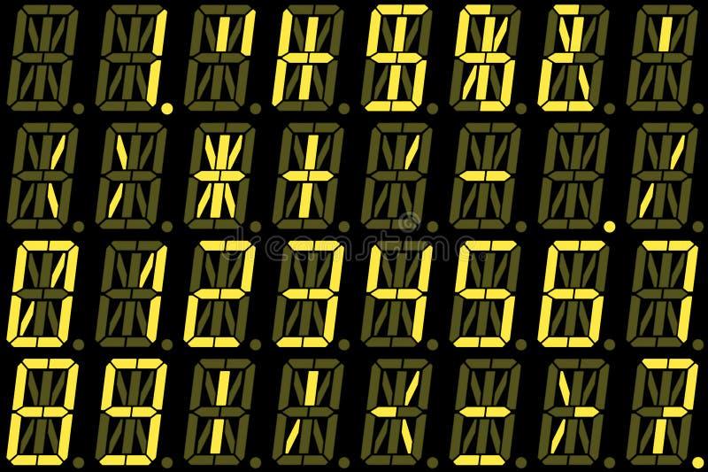 在黄色字母数字的LED显示的数字数字 免版税库存照片