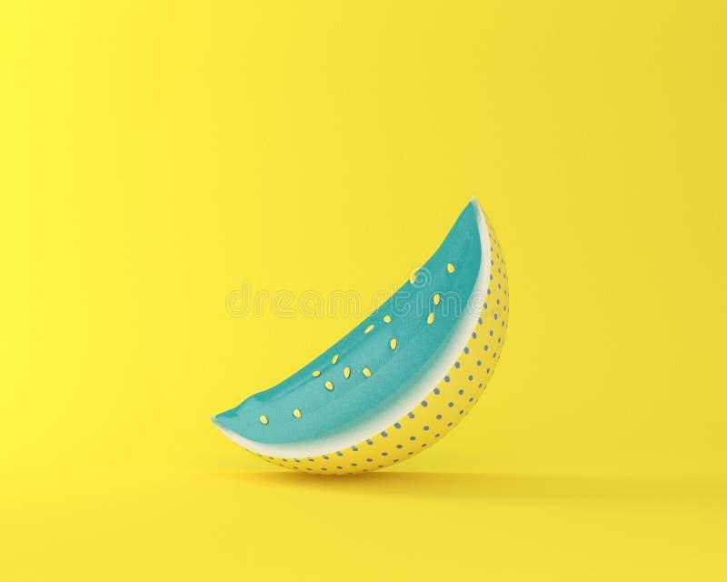 在黄色淡色背景的五颜六色的西瓜 最小的想法fo 库存图片