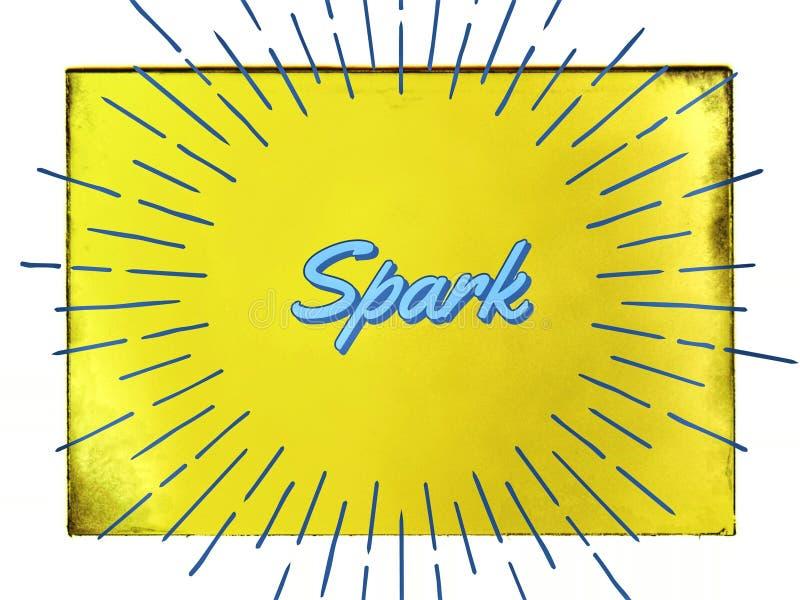 在黄色生机勃勃的背景的词火花 库存图片