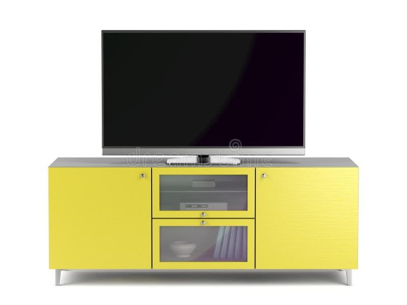 在黄色电视内阁的电视 库存例证