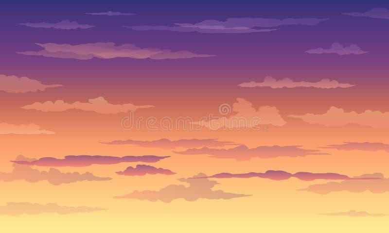 在黄色紫罗兰色颜色的日落天空与云彩 库存例证