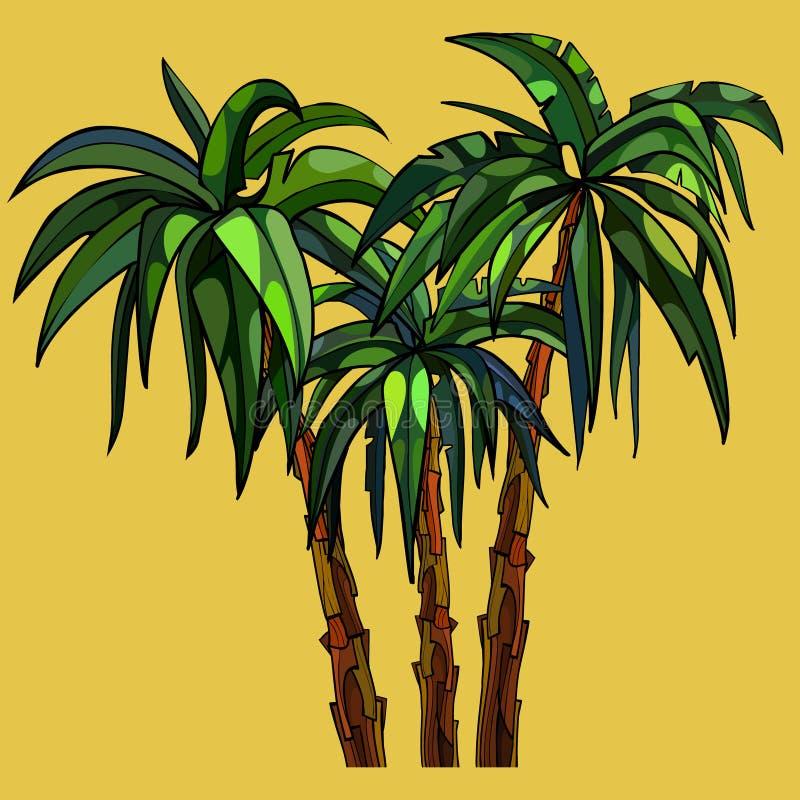 在黄色背景的三棵动画片棕榈树 向量例证