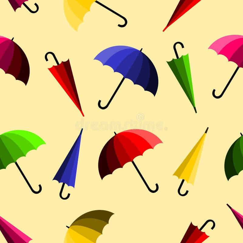 在黄色背景的五颜六色的伞 无缝的模式 向量例证