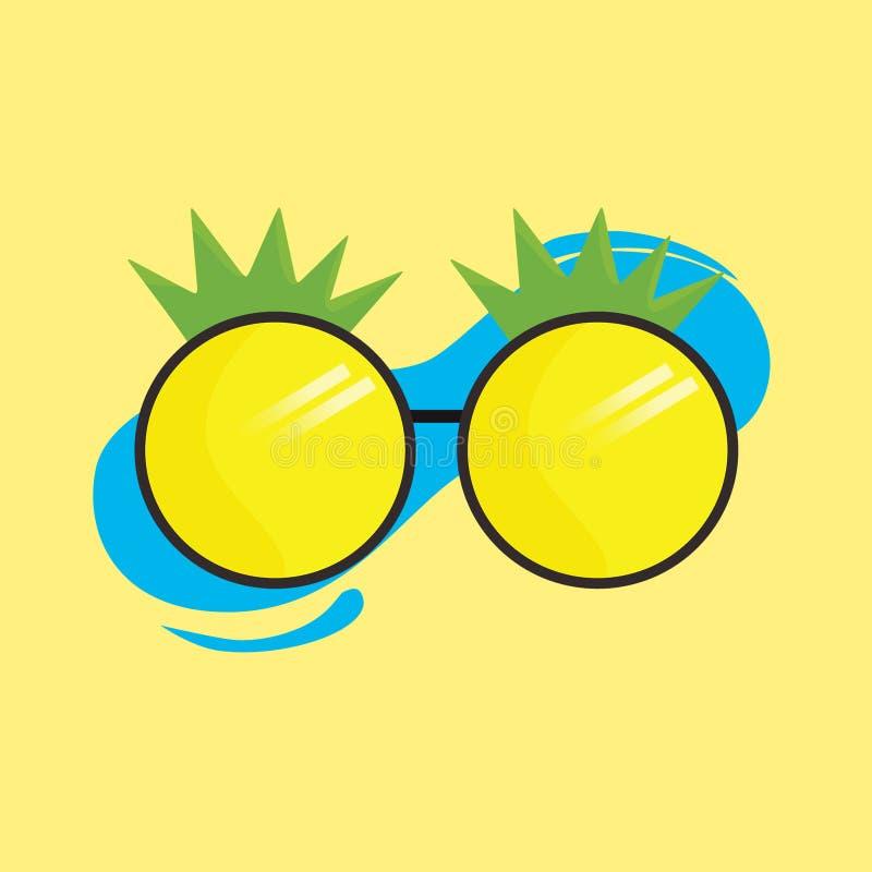 在黄色背景的凉快的菠萝玻璃 皇族释放例证