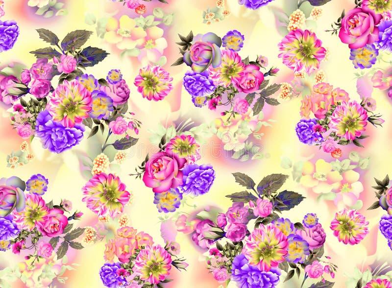 在黄色背景的夏天庭院玫瑰和虹膜花水彩无缝的样式 向量例证