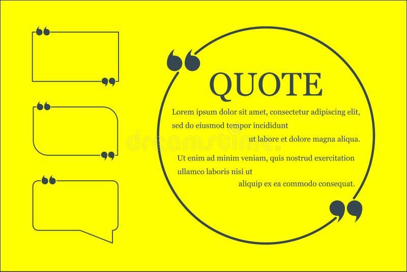 在黄色背景的手拉的讲话泡影 行情和文本的地方 r 向量例证