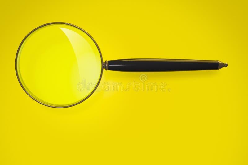 在黄色背景的放大镜 皇族释放例证