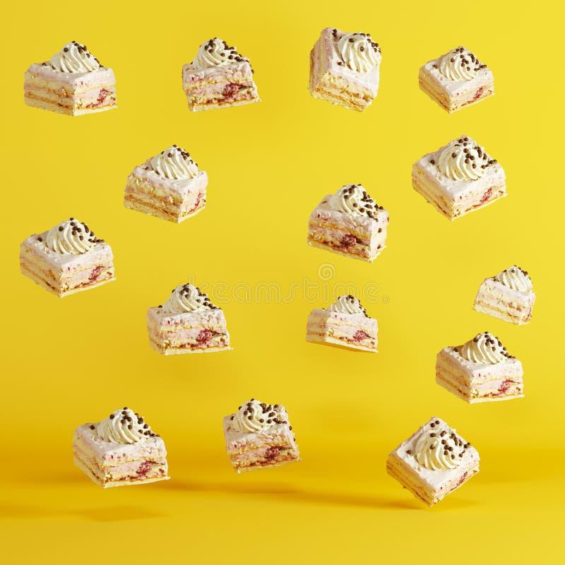 在黄色背景的浮动杯形蛋糕 库存例证