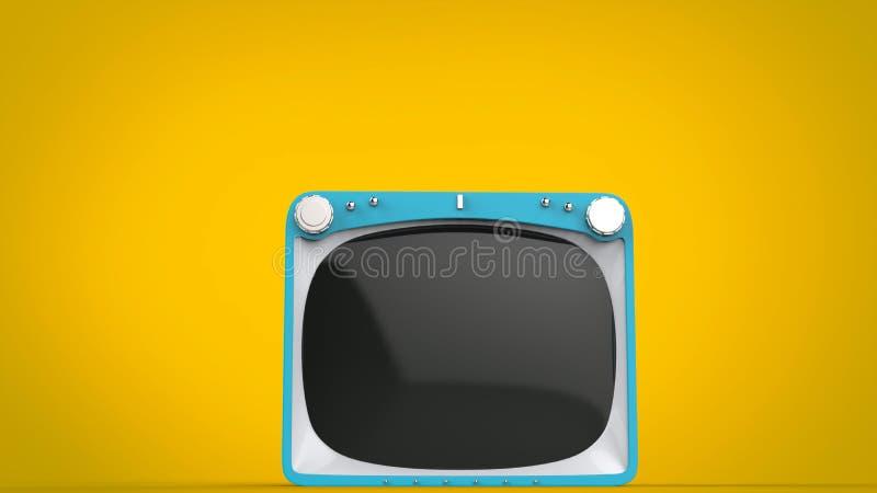 在黄色背景的淡蓝的减速火箭的样式电视机 向量例证