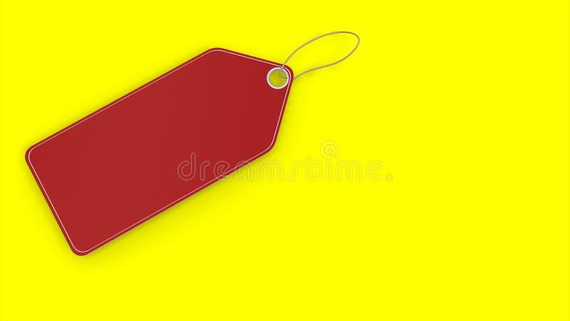在黄色背景的红色空的空白的文本的价牌和空间 向量例证