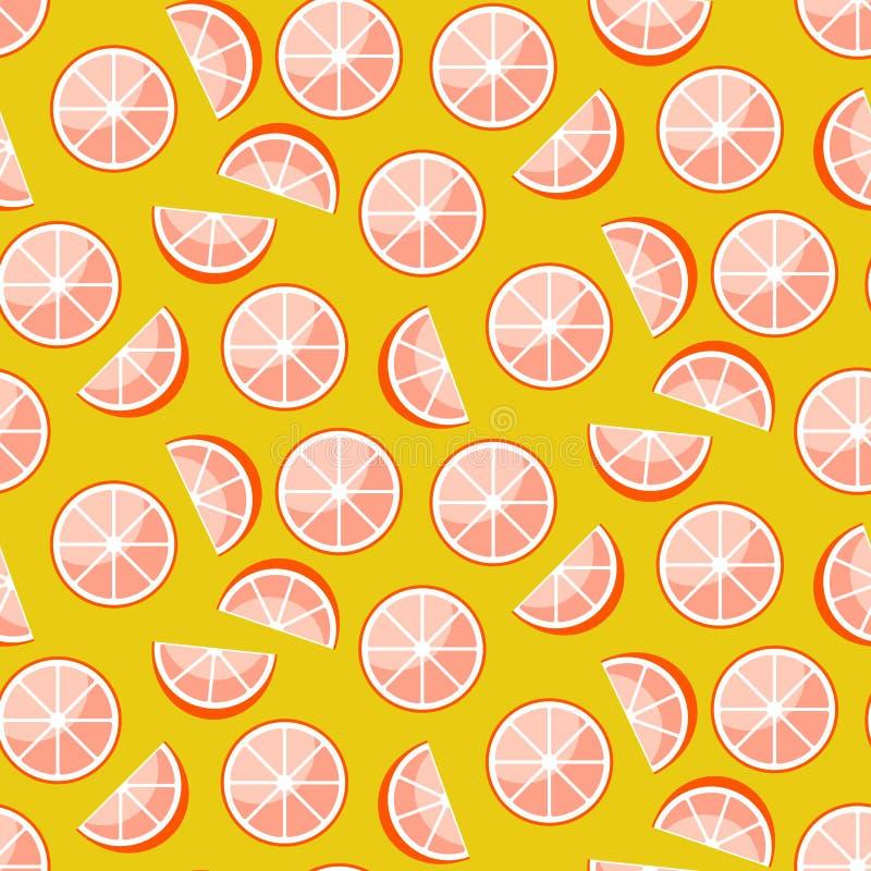 在黄色背景的葡萄柚切片 柑橘无缝的传染媒介样式 向量例证