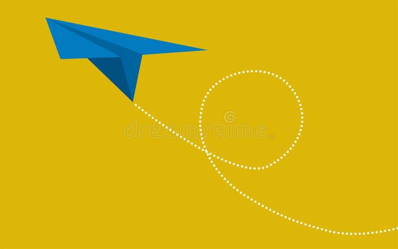 在黄色背景的蓝纸飞机 向量例证