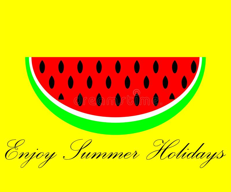 在黄色背景的西瓜与文本享受夏天休假 向量例证