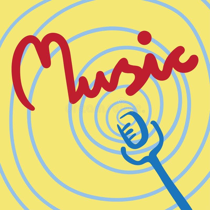 在黄色背景的词音乐与螺旋曲线和话筒 皇族释放例证