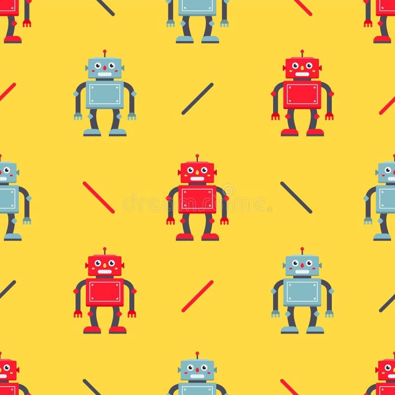 在黄色背景的逗人喜爱的机器人样式 皇族释放例证