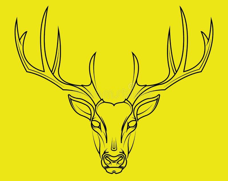 在黄色背景的鹿顶头手拉的样式 向量例证