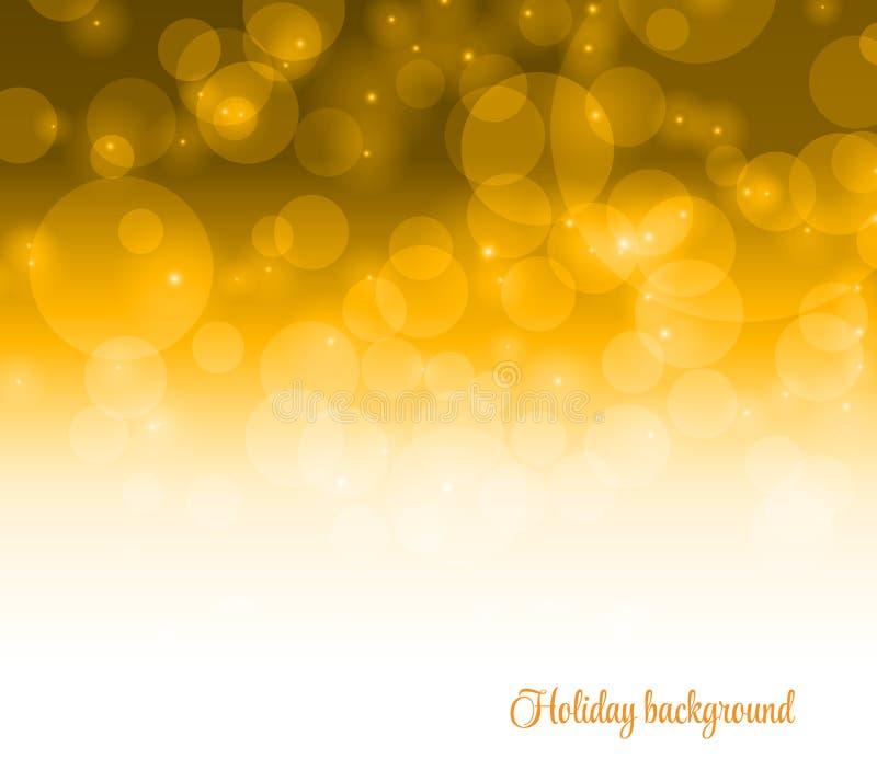 在黄色背景的Bokeh 传染媒介迷离adstract金子纹理 库存例证