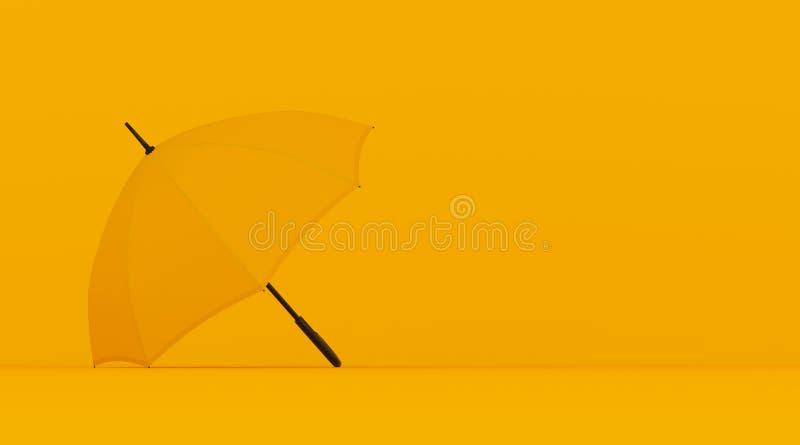 在黄色背景,拷贝空间的芥末黄色开放伞,在概念,垂直的广告牌海报混和 向量例证