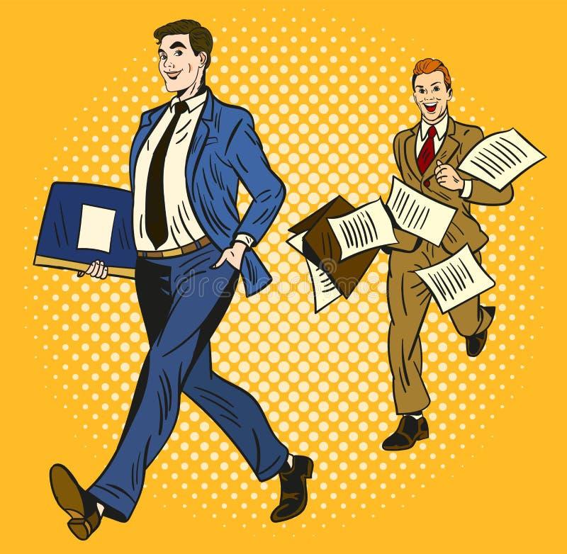 在黄色背景,聪明和组织的一的两个动画片商人运载公文包和秒钟冲 皇族释放例证