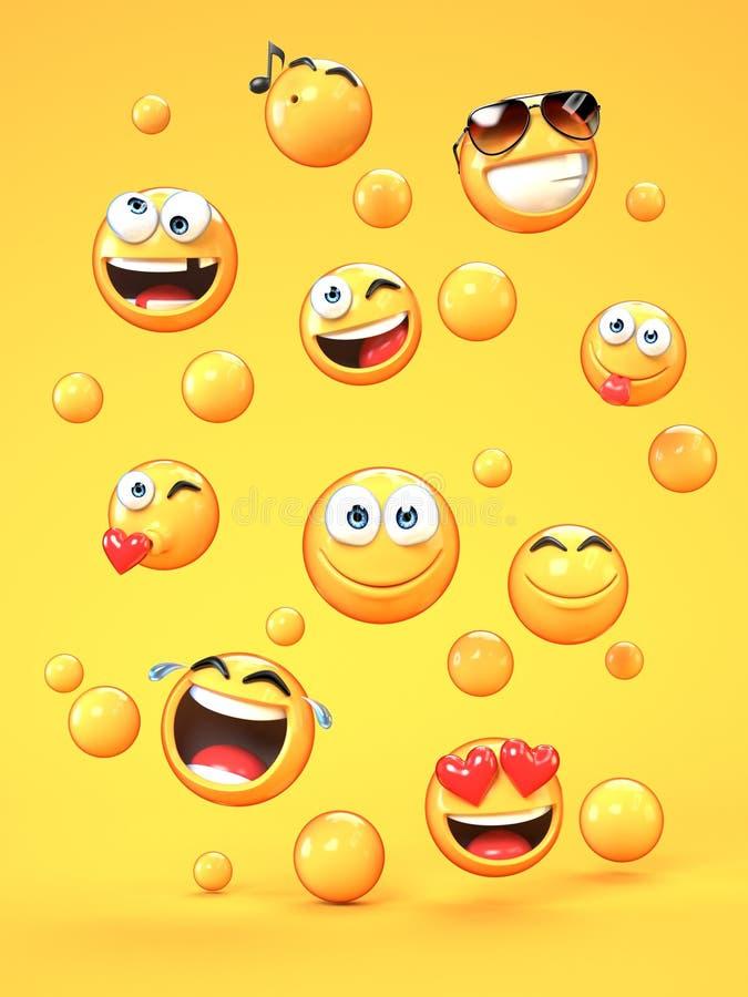 在黄色背景, 3d的各种各样的emojis翻译 向量例证