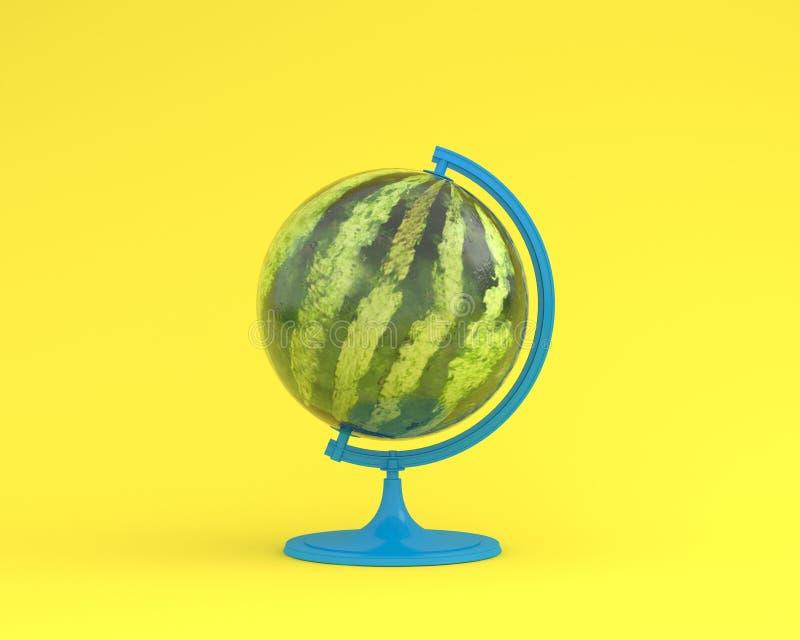 在黄色颜色柔和的淡色彩背景的西瓜全球性想法概念 库存照片