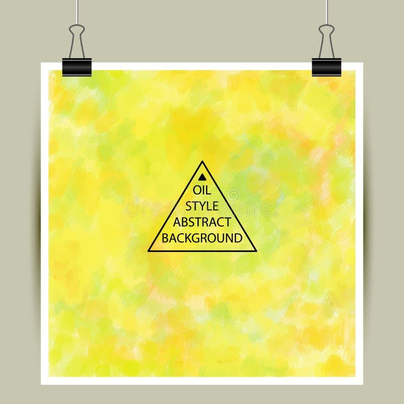 在黄色颜色的抽象艺术性的油漆传染媒介背景 向量例证