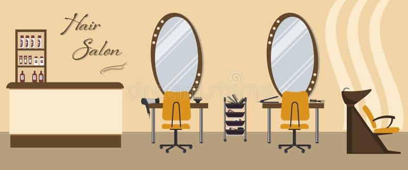 在黄色颜色的美发店内部 擦亮沙龙的秀丽nailfile钉子 向量例证