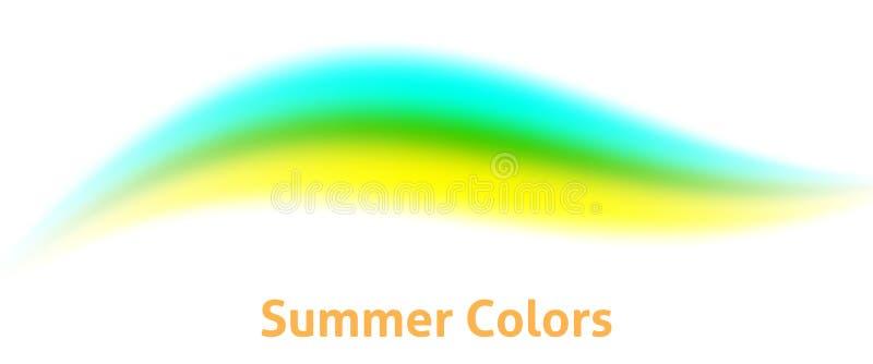 在黄色,绿色和水色颜色的软的波浪线 最小的背景 皇族释放例证