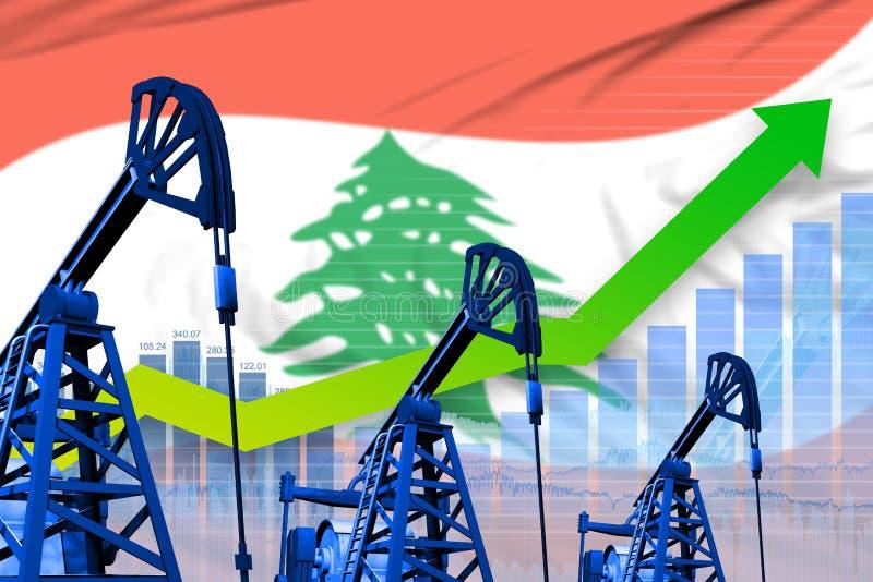 在黎巴嫩旗子背景-黎巴嫩石油工业或市场概念的工业例证的增长的图表 3d?? 库存例证