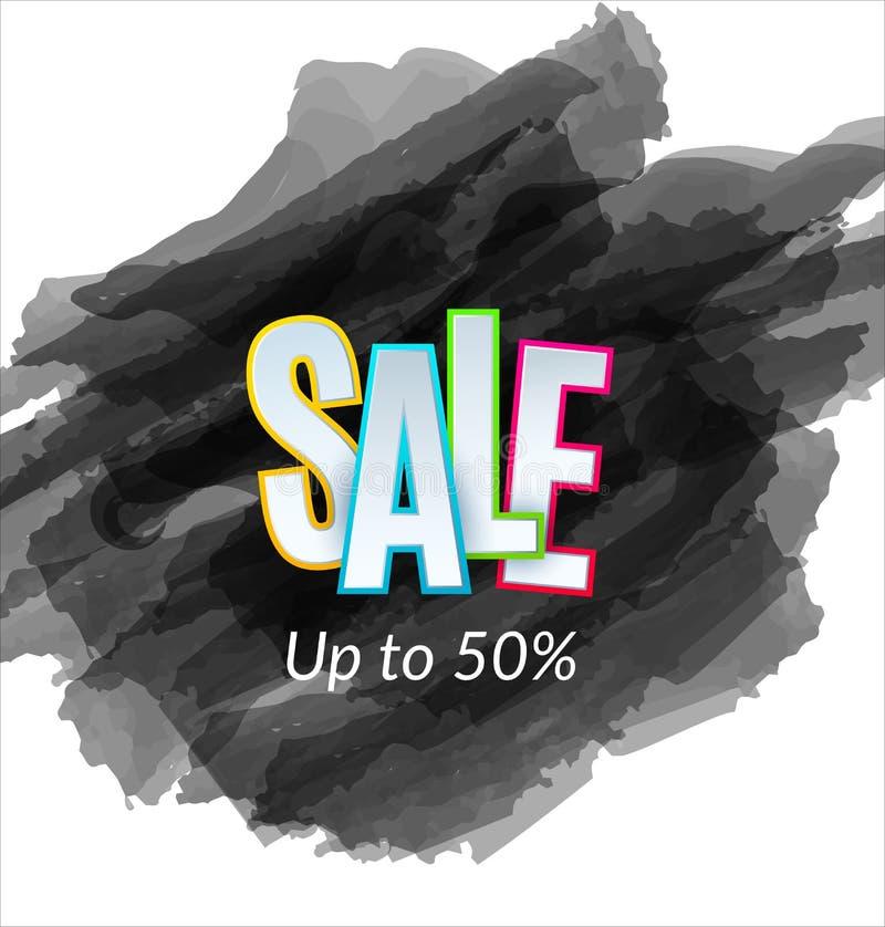 在黑剪影背景的销售艺术性的横幅模板设计 特价优待,折扣的五颜六色的信件 库存例证
