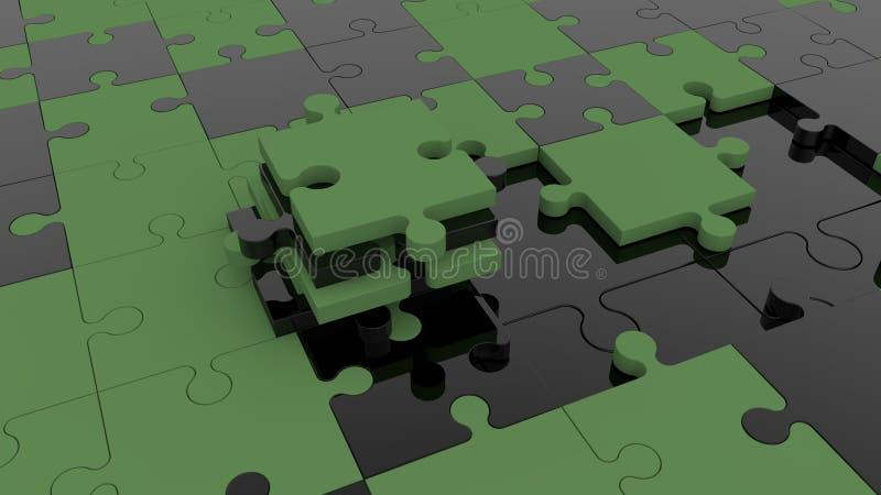 在黑和深绿的未完成的难题概念 库存例证