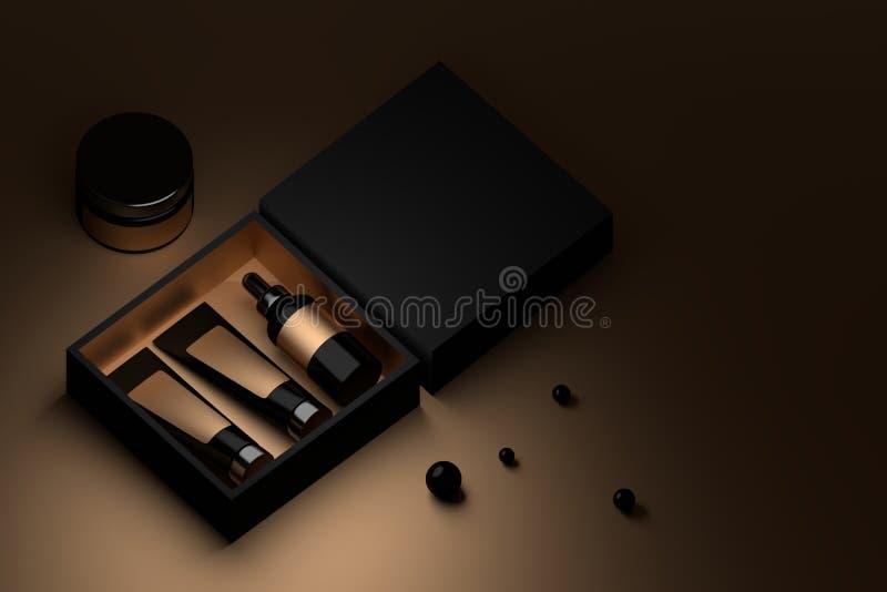 在黑和金黄箱子的化妆用品 向量例证