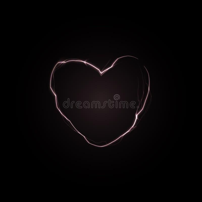 在黑墙壁的裂缝在心形 爱力量标志 与雷电心脏的异常的情人节卡片 ?? 皇族释放例证