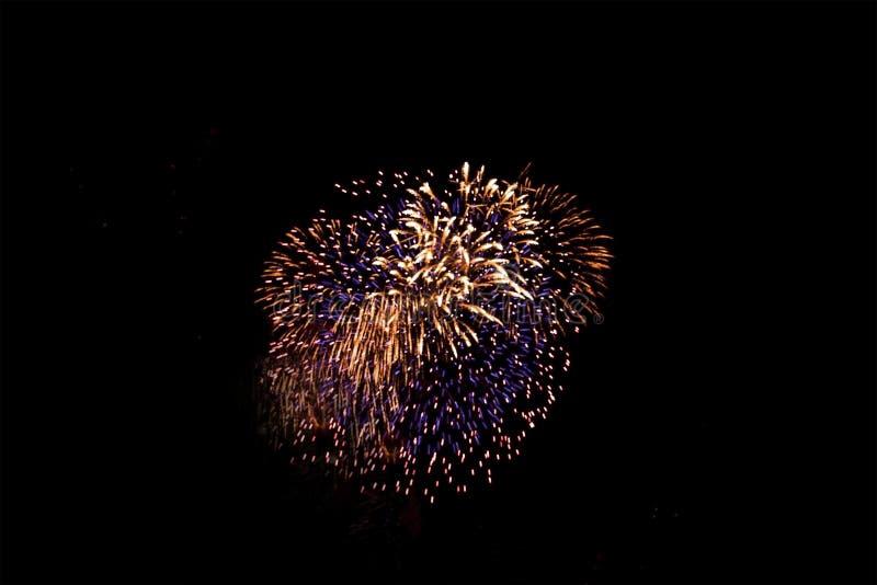 在黑天空的五颜六色的烟花为庆祝节日,抽象摄影 库存照片