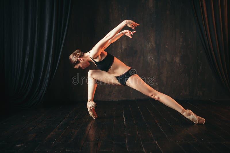 在黑实践训练的古典跳芭蕾舞者 库存图片