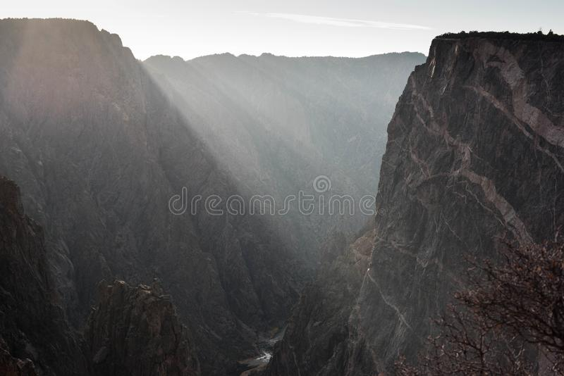 在黑峡谷的光 图库摄影