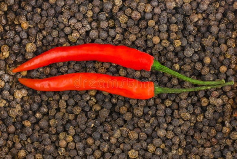 在黑干胡椒背景的荚辣椒两平行的胡椒对比菜单基地 库存照片