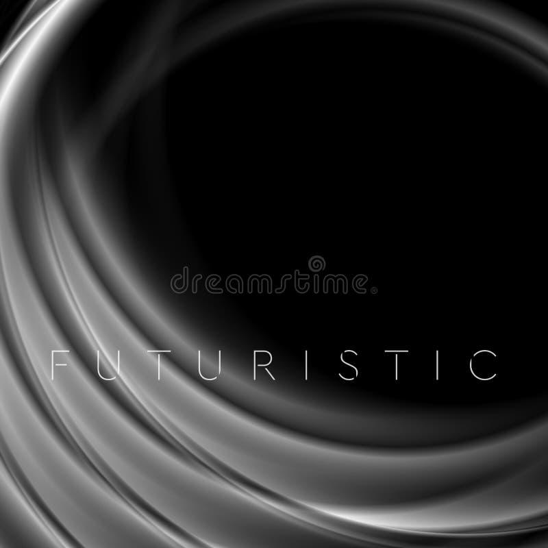 在黑抽象背景的灰色发烟性波浪 皇族释放例证