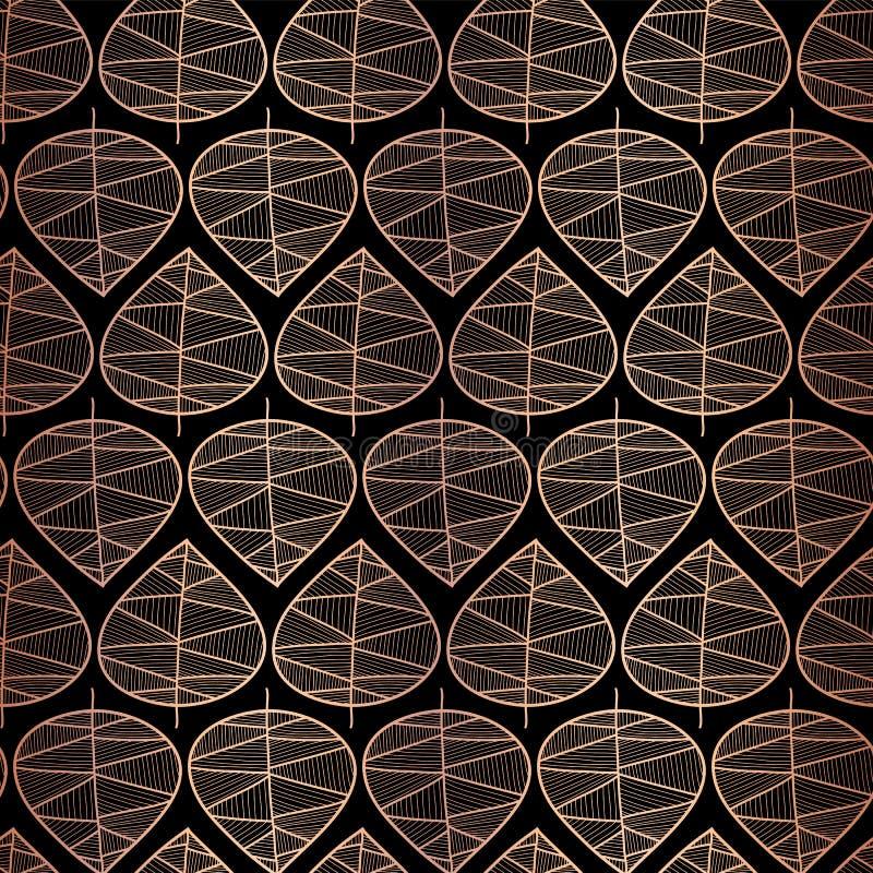 在黑无缝的传染媒介背景的典雅的罗斯金箔秋叶 金属铜样式 重复纹理的传染媒介 向量例证