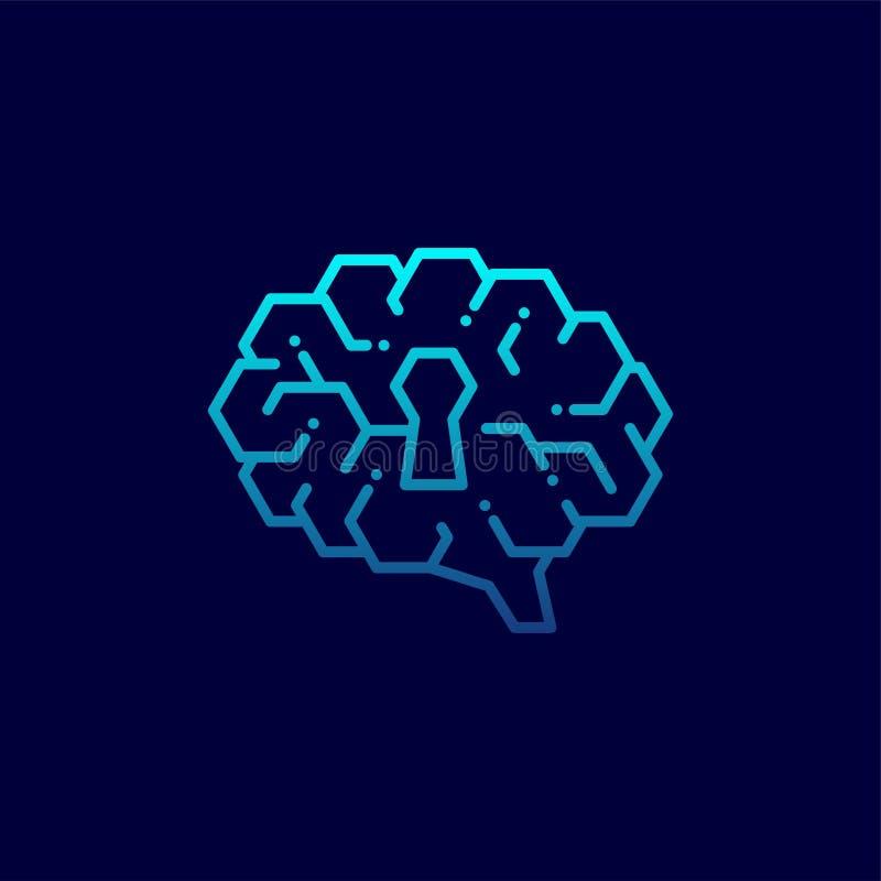 在黑暗与匙孔标志,头脑构思设计例证蓝色梯度颜色的秘密的旁边脑子商标象隔绝的 向量例证